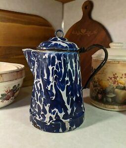 Beautiful 19th Century Antique Cobalt Blue Swirl Graniteware Cowboy Coffee Pot