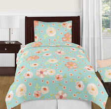 Sweet Jojo Girls Turquoise Peach Chic Watercolor Floral Kids Twin Bedding Set