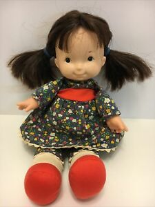 Vtg Fisher Price 1973Toy Lapsitter JENNY DOLL #201Blue Floral Calico outfit