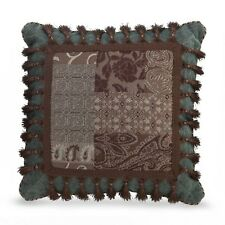 "CROSCILL Toss Pillow, GALLERIA BROWN, Embellished, 18"" Square Aqua, Brown, NEW"
