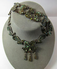 Sterling Silver Abalone Choker Necklace Bracelet Set Taxco Mexico LS 81.2 GRAMS