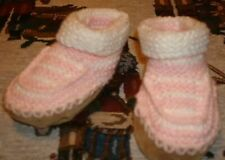 r- SHOES BABY SZ NB BOOTIES CHILD OF MINE KNIT PINK/WHITE VERY CUTE {SIZE NB}