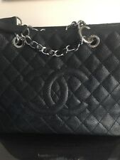 AUTHENTIC Chanel Black Caviar Leather GST Shopping Bag.