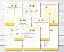 Bumble Bee Baby Shower Games Pack - 8 Printable Games