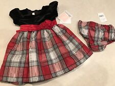 NWT Bonnie Baby Girl's Holiday Dress Velvet Plaid Black Red & Silver 18 Months
