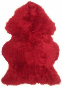 Genuine Australian Sheepskin Rug Red 2x3 ft Single Pelt Real Sheep Fur Leather.