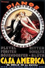 VINTAGE ART PRINT - Casa America by Achille Mauzan 38x26 Piano Duet Poster
