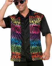 Rainbow Tiger Mens Adult Bowling League Halloween Costume Shirt-Std