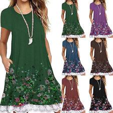 Women Summer Short Sleeve T Shirt Floral Loose Casual Crew Neck Lace Slip Dress
