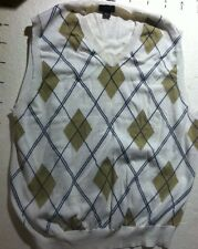 TASSO ELBA Mens Golf Polo Shirt No Sleeve Cotton Size M diamond patrn