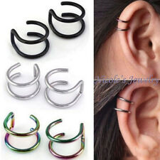 2PC Stainless Steel Ear Cuff Clip On Earring Fake Lip Ring Cheater No Piercing