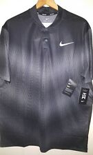 Tiger Woods Nike Golf Flyknit Snap Polo Shirt Men's 2XL NWT $100.00 Black