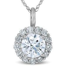 "3/4 Ct Halo Diamond Pendant 14k White Gold 18"" Chain Necklace"