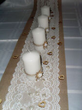Set:Tischläufer Band Jute Spitze Hochzeit Deko + 4 Kerzen+Streudeko Creme Weiss