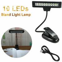 360° Pivoter 10 LED Clip-on musique Supporter lecture Lampe USB Câble 110-220v