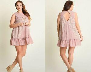 Umgee Blush Sleeveless Lace Embroidered Ruffle Open Back Tunic Swing Dress