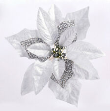 20cm Christmas Party Poinsettia Glitter Flowers Gold Bow Clips on Decorations Rose Red