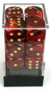 Chessex Vortex Burgundy/Gold W6 16mm Würfel Set CHX27634