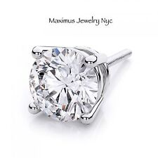 Single Diamond Brilliant Men's Stud Earrings 100% Natural 14K White Gold 0.50CT