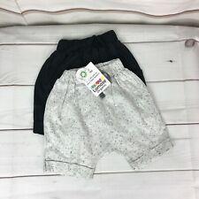Lamaze Baby Boys 2pk Organic Cotton Terry Harem Jogger Shorts Black Gray 12M New