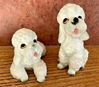 Vintage Lefton Porcelain White Poodle Dog Puppy Figurines Made in Japan H6086