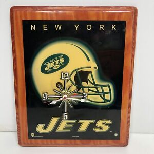 Vtg New York Jets NFL Wood Plaque Wall Mounted Man Cave Display Wood Clock