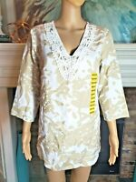 NWT PREMISE Women's Tunic Floral 3/4 length Sleeves Top EMBROIDERED  SZ M! $78