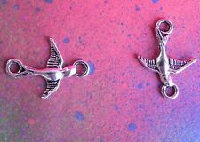 20 Swallow Flying Bird Charm 2 Hole Silver Metal Connector Soaring Pendants