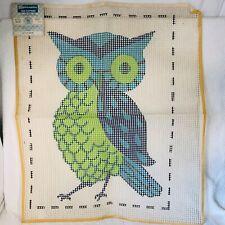 "Vintage Spinnerin Latch Hook Rug Pattern Canvas Green Blue Owl 20"" x 27"" No Yarn"