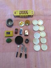 Lot Of Dollhouse Miniatures Plates Pan Food Cooking Utensils