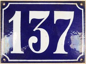 Large old French house number 137 door gate plate plaque enamel steel metal sign