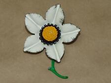 "Vintage 60s Metal w/ White Yellow Black & Green Enamel Flower Pin Brooch 3.5"""