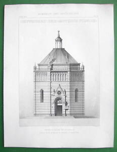 ARCHITECTURE 2 PRINTS : Italy Baptistery at Pistoia