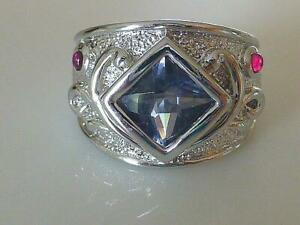 ROSS SIMONS Square Amethyst & Pink Cubic Zirconia CZ Sterling Silver Ring Size 6