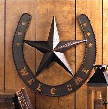 "Southwestern ** WESTERN LONESTAR ""WELCOME"" HORSESHOE SIGN DOOR WALL DECOR ** NIB"