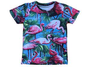 RXBC2011 size Medium /12 Flamingo Print Stretch Basic T-Shirt fabric. Stretch Po