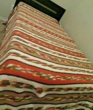 Vintage Hand Crocheted Striped Granny Fringe Afghan Blanket in Autumn Colors