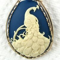 Peacock Cameo Pendant 14K Rolled Gold Jewelry Cream Resin