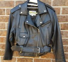 WILSONS Vintage Leather Motorcycle Jacket XS Black Moto Cropped Punk Belted