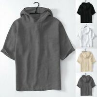 Men's Baggy Cotton Linen Solid Short Sleeve Retro Hooded T Shirts Tops Blouse