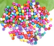 200pcs Mixed colour Bead Wood Tube Spacer Beads 4X3MM