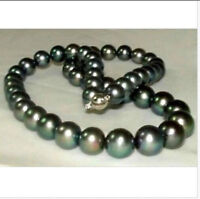 """stunning AAA 10-11mm perfect round tahitian black pearl necklace 18"""" 14K GOLD"""