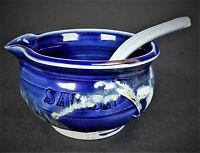 Hand Thrown Cobalt Blue Pottery Stoneware Salsa Serving Bowl & Spoon Ladle