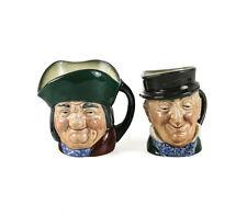 "2pc Royal Doulton Small Toby Jugs Toby Philpott D5737, Mr. Micawber D5843 3 1/4"""