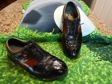 Footjoy Dryjoys Tour Golf shoes Men SZ 9.5 W Optiflex 2 Platform Black & Wood