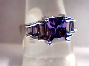 """ON SALE""!!!! Beautiful Purple Amethyst Dazzler 18Kt. White G.F. Lady's Size 9"