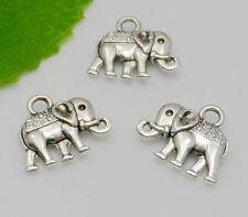 15Pcs Tibetan Silver Elephant Charms Pendant Fit Bracelet Jewelry 14x12mm