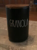 NEW Rae Dunn Large GRANOLA Canister with Sealing Wooden Lid