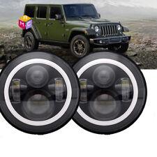 7inch round Led Headlight Black DRL For Jeep Wrangler Jk Tj Cj Lj Hummer H1 2PC