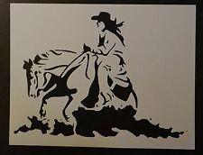 """Cowboy Cowgirl Riding Horse 8.5"""" x 11"""" Custom Stencil FAST FREE SHIPPING"""